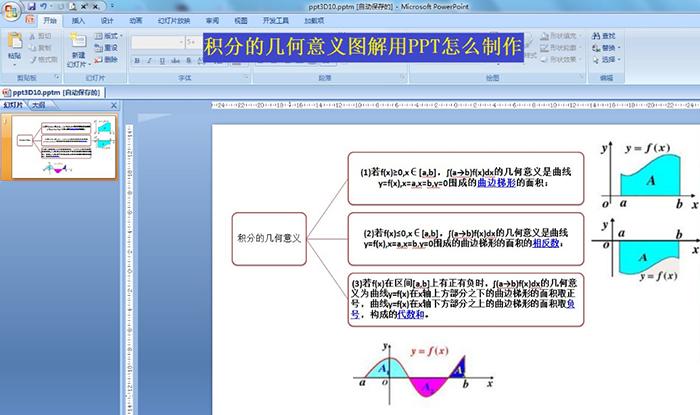 如何用ppt制作積分的幾何意義圖解
