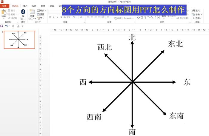 如何用PPT制作8个方向的方向标图